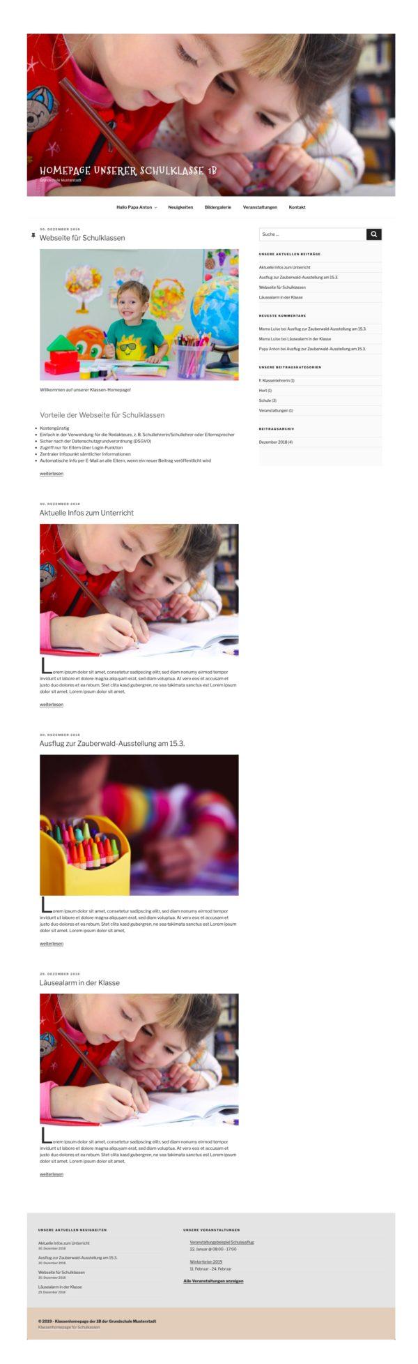 Klassenhomepage für Schulklassen nach DSGVO mit WordPress, einfach und kostengünstig - Web-Kreativ