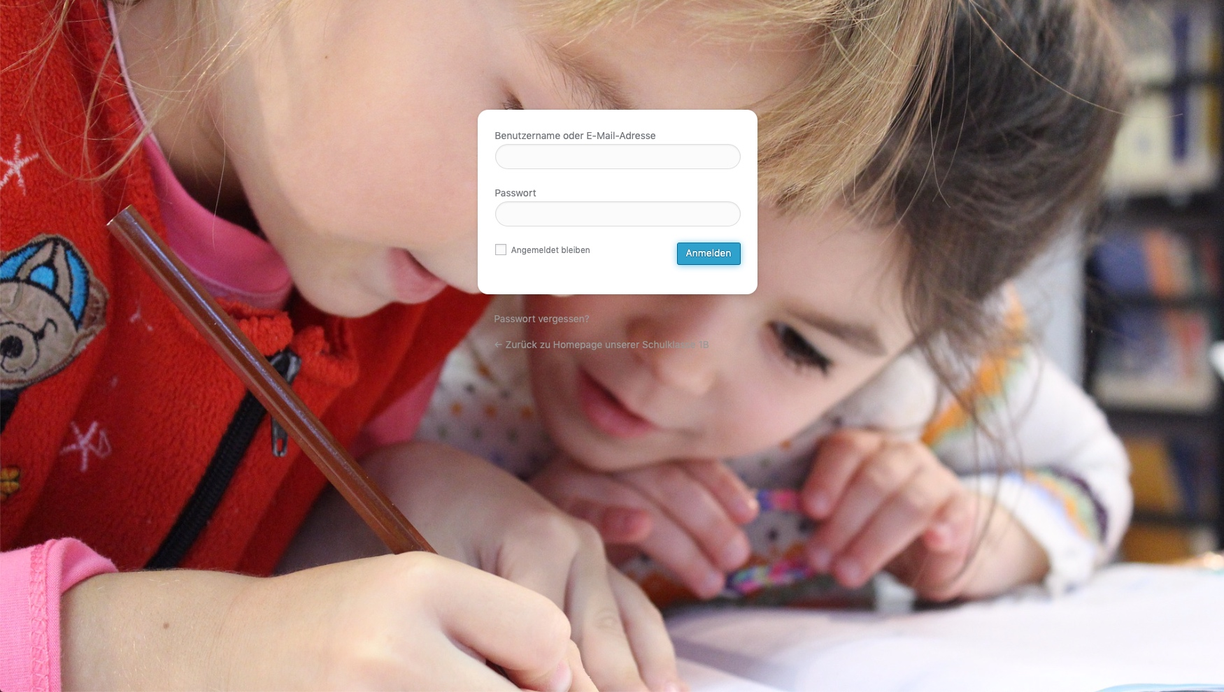 Klassenhomepage für Schulklassen - Startseite mit geschützter Login-Funktion © 2019 Web-Kreativ WordPress Webdesign Manufaktur