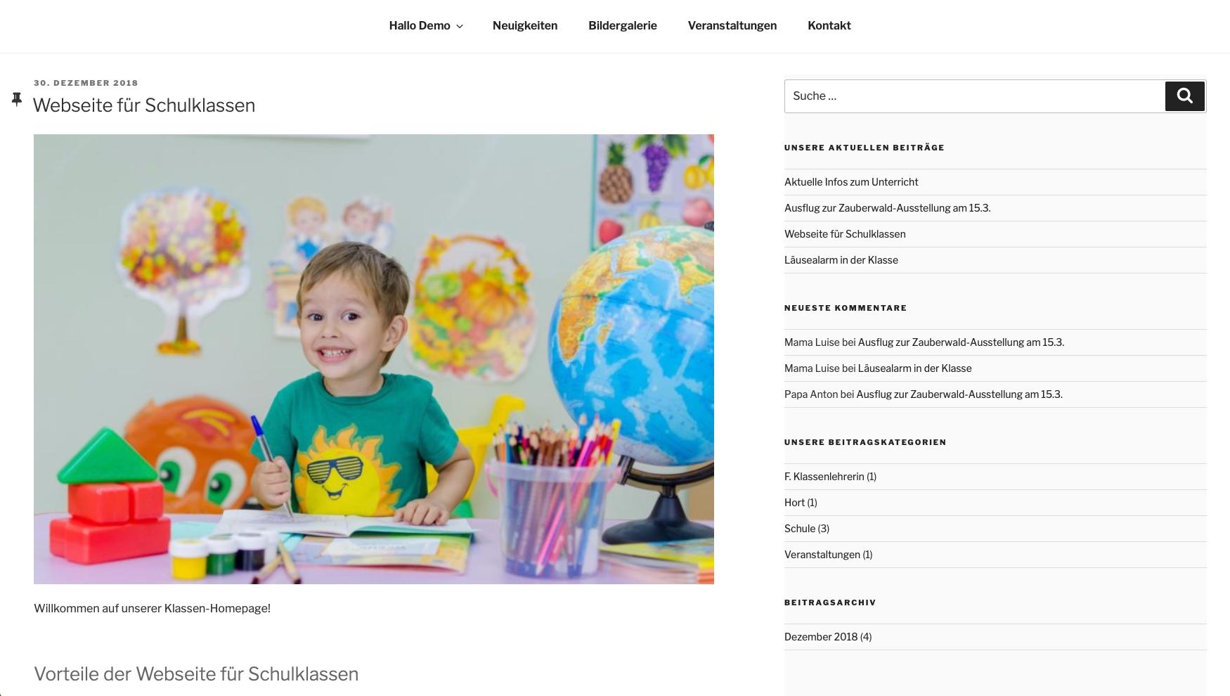 Klassenhomepage für Schulklassen - Startseite mit Neuigkeiten und Seitennavigation © 2019 Web-Kreativ WordPress Webdesign Manufaktur