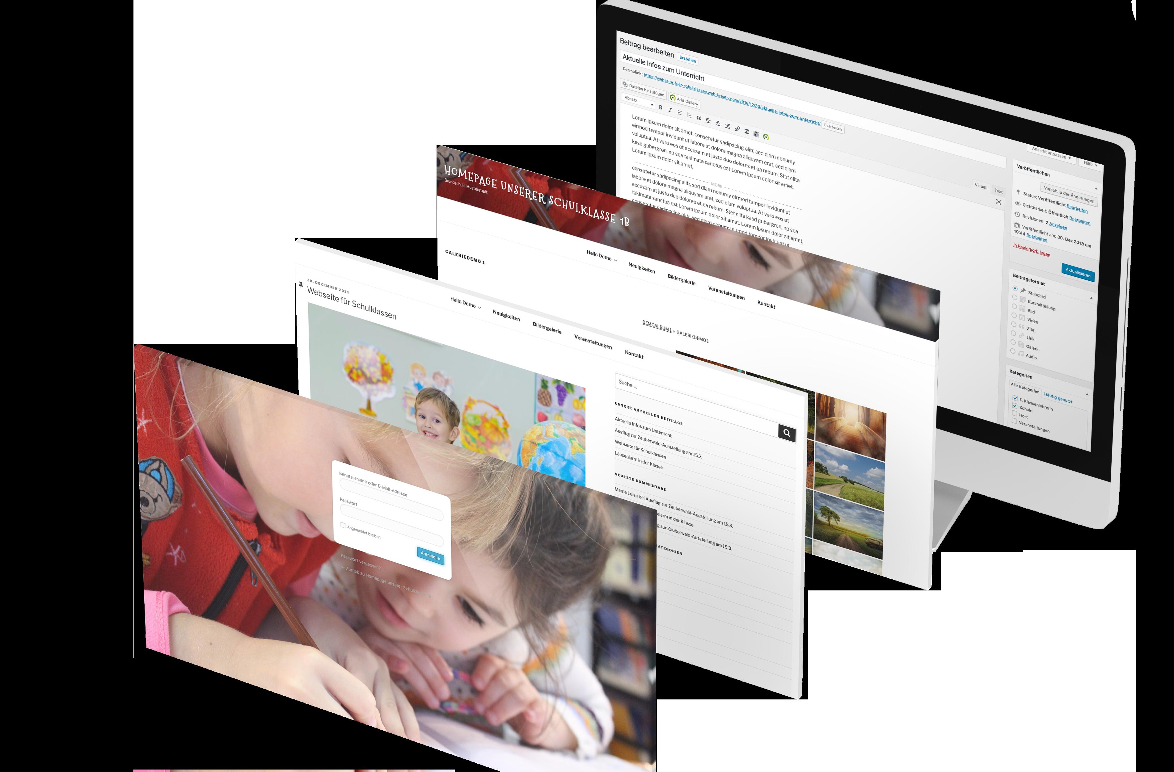 Klassenhomepage für Schulklassen - Portfolio © 2019 Web-Kreativ WordPress Webdesign Manufaktur